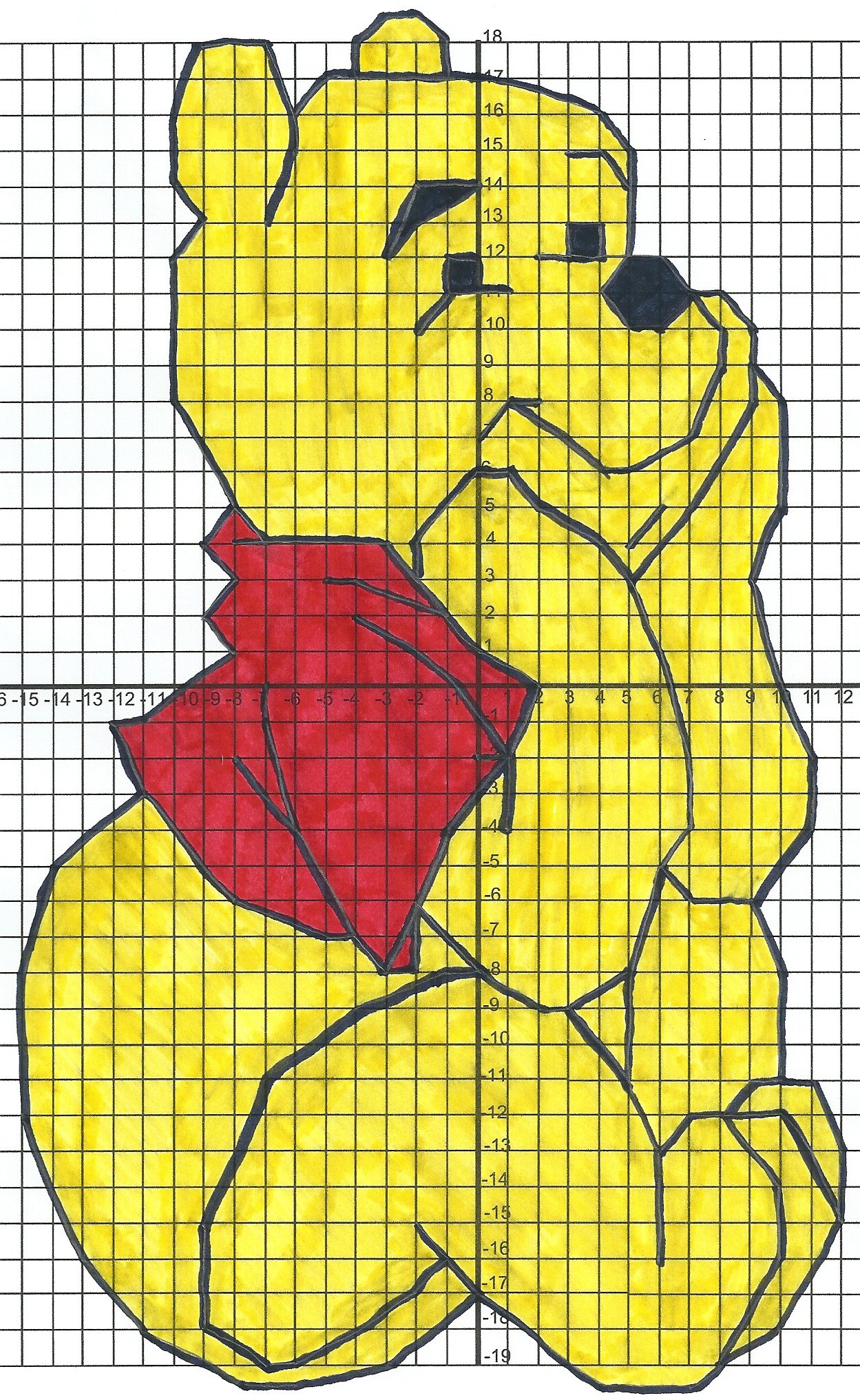 Winnie The Pooh on Math Coordinate Plane Worksheets
