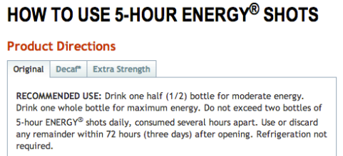 5 Hour Energy Directions
