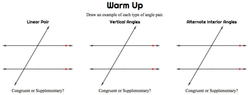 Parallel Lines Warm Up